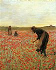2011 Girls in Poppy Field painting