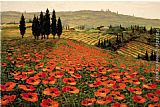 Poppies paintings - Hills of Tuscany I by 2011