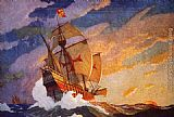 2012 Columbus' Three Ships by N.C. Wyeth painting