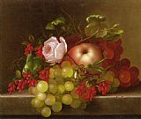 Adelheid Dietrich Still Life with Peach_ Grapes and Rosehips painting