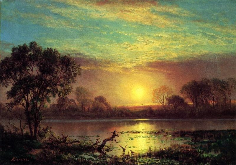 Albert Bierstadt Evening, Owens Lake, California