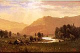 Albert Bierstadt Figures in a Hudson River Landscape painting