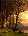 Albert Bierstadt Sunset in California, Yosemite painting