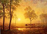 Albert Bierstadt Sunset on the Mountain painting