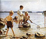 Albert Edelfelt Boys Playing at the Beach painting
