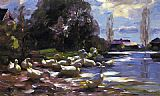 Alexander Koester Ducks on a Riverbank on a Sunny Afternoon painting