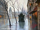 Alexei Butirskiy Paris Plaza With Kiosk painting