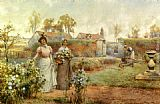 Alfred Glendening A Lady And Her Maid Picking Chrysanthemums painting