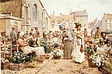 Alfred Glendening Flower Market in a French Town painting