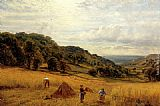 Alfred Glendening Harvesting At Luccombe, Isle Of Wight painting
