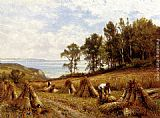 Alfred Glendening In The Cornfields, Near Luccombe, Isle Of Wight painting