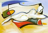 Alfred Gockel Nude On Beach painting