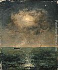 Alfred Stevens Moonlit seascape painting