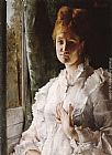 Alfred Stevens Portrait of a Woman in White painting