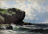 Alfred Thompson Bricher Rocky Head with Sailboats in Distance painting
