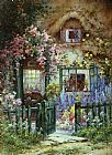 Alfred de Breanski A Wayside House painting