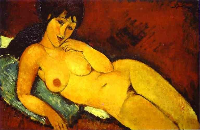 Amedeo Modigliani Nude on a Blue Cushion