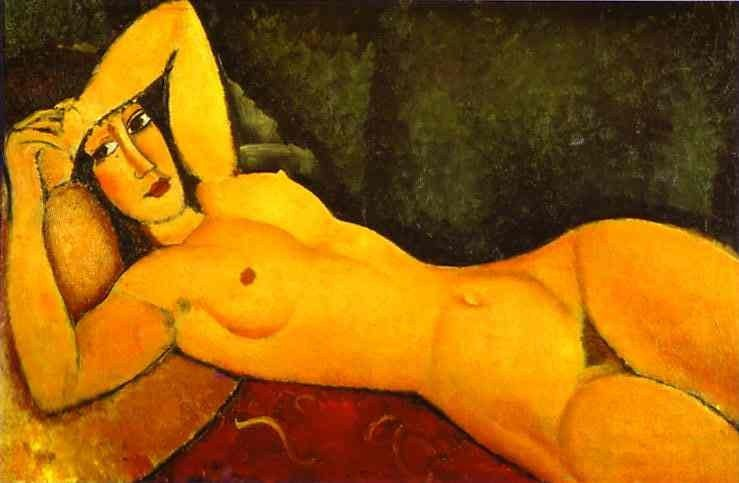 Amedeo Modigliani Reclining Nude with Left Arm Resting on Forehead