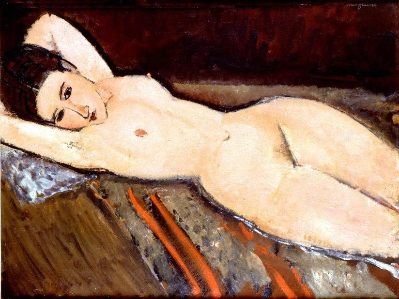 Amedeo Modigliani nude with hands behind head