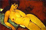 Amedeo Modigliani Nude on a Blue Cushion painting