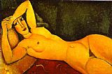 Amedeo Modigliani Reclining Nude with Left Arm Resting on Forehead painting