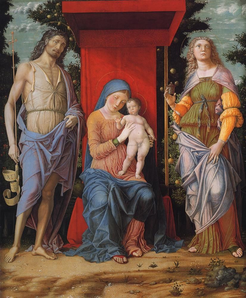 Andrea Mantegna Virgin and child with the Magdalen and St John the Baptist
