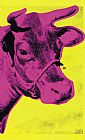 Andy Warhol Cow Pink on Yellow painting