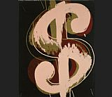 Andy Warhol dollar sign beige and red painting