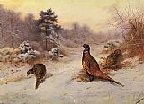 Archibald Thorburn Winter's Sunset painting
