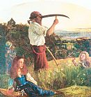Arthur Hughes The Mower painting
