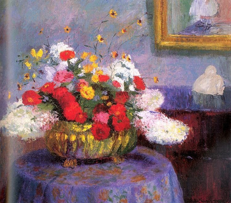 Bernhard Gutmann Still Life Round Bowl with Flowers