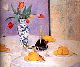 Bernhard Gutmann Tulips And Yellow Tea Service painting
