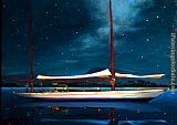 Brent Lynch Moonlight Ketch Antigua painting