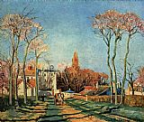 country village ii Paintings - Entree du village de Voisins 1872