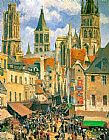 Camille Pissarro The Old Market at Rouen painting