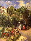 an evening rose garden Framed Prints - The garden at Pontoise 1877