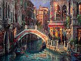 Venice paintings - Venice Over the bridge by Cao Yong