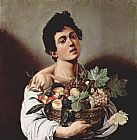 Caravaggio Boy with a Basket of Fruit painting