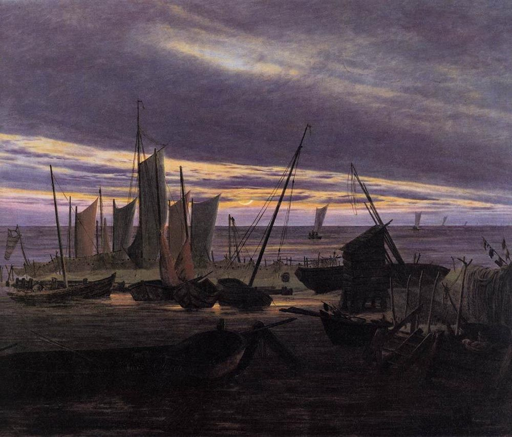 Caspar David Friedrich Boats in the Harbour at Evening