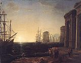 Claude Lorrain Harbour Scene at Sunset painting