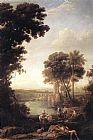Claude Lorrain Landscape with the finding of Moses painting