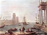 Claude Lorrain Port Scene with the Departure of Ulysses from the Land of the Feaci painting