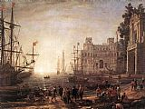 Claude Lorrain Port Scene with the Villa Medici painting