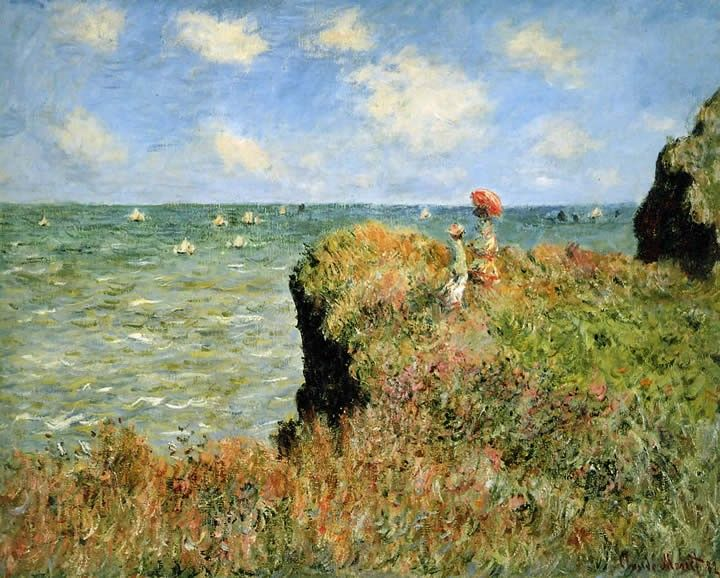 Claude Monet Stroll At The Rocks Of Pourville