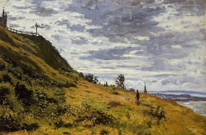 Claude Monet Taking a Walk on the Cliffs of Sainte-Adresse