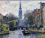 Church paintings - Canal In Amsterdam by Claude Monet