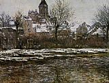 Claude Monet Church at Vetheuil Snow painting