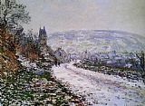 Claude Monet Entering the Village of Vetheuil in Winter painting