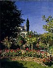 Church paintings - Garden In Flower At Sainte-Adresse by Claude Monet