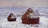 Claude Monet Grainstacks_ Snow Effect painting